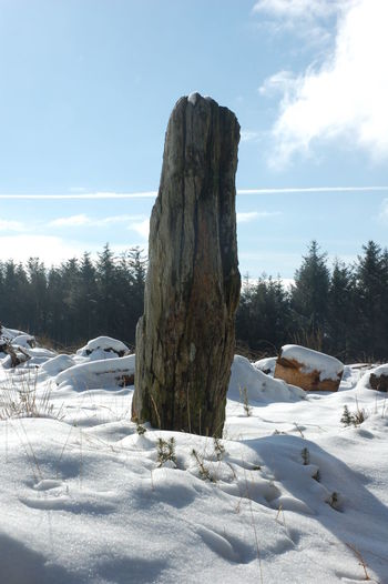 Megalith Menhir Outdoors Prehistoric Prehistoric Monument Snow Standing Stone Winter