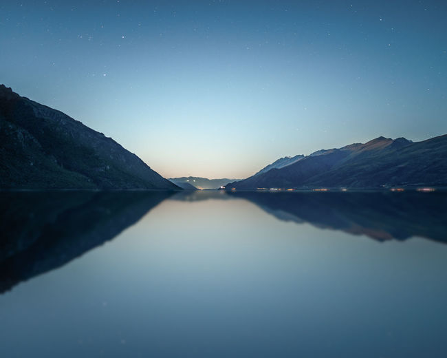 Sky Water Mountain Scenics - Nature Beauty In Nature Waterfront Tranquility Tranquil Scene Lake Idyllic Nature Mountain Range Reflection No People Non-urban Scene Clear Sky Copy Space Environment Outdoors New Zealand Kingston Lake Wakatipu Queenstown Stars Astrophotography Sunset Twilight