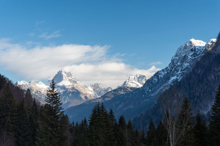 Mount mangart from the predil pass in winter clothes. tarvisio, italy