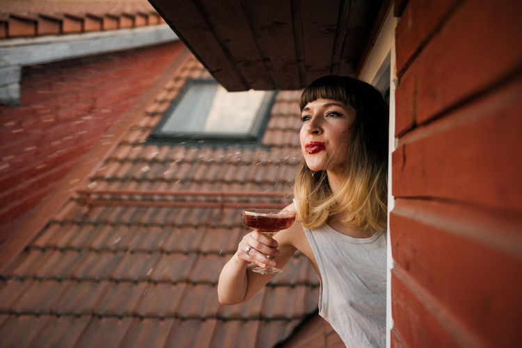 Annoy Your Neighbours Champagne Linas Was Here Rooftop Studio Beauty Brunette Dark Brown Drink Open Window Red Lipstick Red Tiles Spit White Shirt A New Beginning