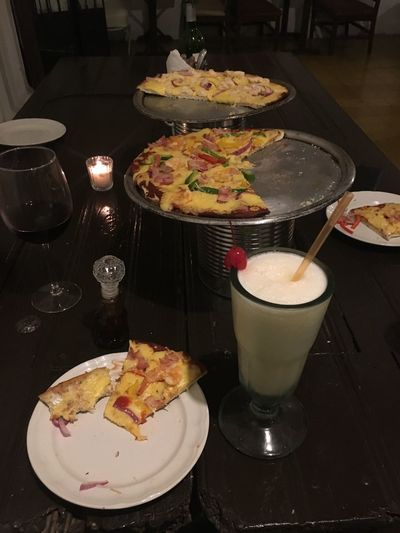 Just a restaurant I went to in Mexico 2017 Piña Colada Wineglass Wine Handmade Pizza Pizza Food And Drink Table Drink Food Plate Drinking Glass Ready-to-eat Indoors  Serving Size Freshness Refreshment Temptation Close-up Food Stories
