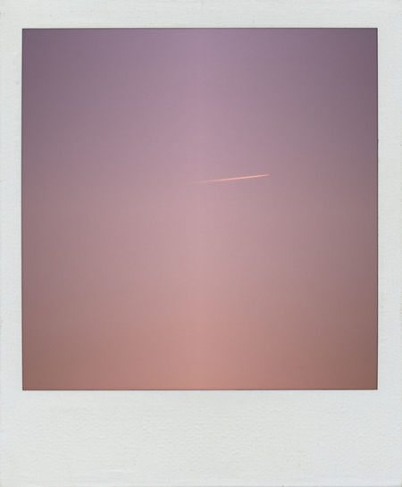 Polaroid image of pink gradient sky with vapor trail Pink Close-up Day Gradiented Sky Mood No People Polaroid Purple Scan Sunset Vapor Trail