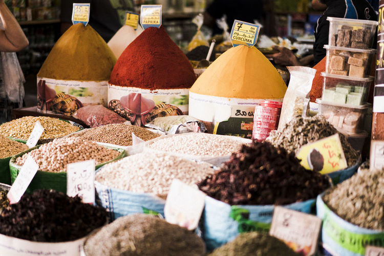 Marocco Landscape Africa North Africa Food Food And Drink Choice Freshness Spice Market Variation Market Stall Retail  Large Group Of Objects Price Tag No People Selective Focus Business Still Life Day In A Row Retail Display Sale Market Agadir Morocco Morocco Landscape For Sale Abundance Text