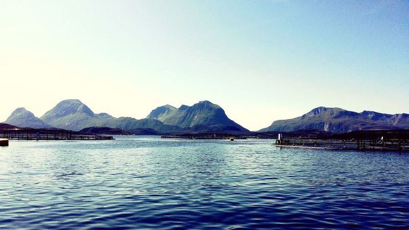 Mountain Outdoors Mountain Range Nature No People Tranquility Blue Landscape Scenics Water Beauty In Nature Day Clear Sky Fishfarm Salmon Farm Beautiful Home Tustna Norway Beauty In Nature EyeEmNewHere Idyllic Tourism Sky Peaceful