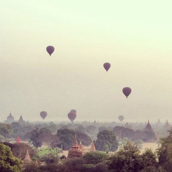 Balloons Over Pagodas In Bagan