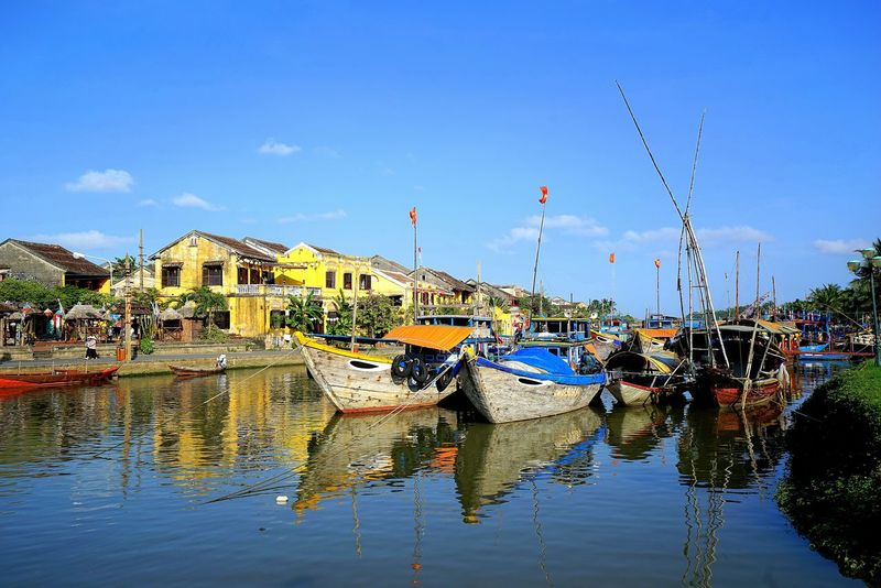 Hoi An. By SONY A7R. Hoi An Hoi An, Vietnam Architecture Building Exterior Built Structure Cloud - Sky Day Harbor House Mode Of Transport Moored Mountain Nature Nautical Vessel No People Outdoors Reflection Sky Transportation Water Waterfront