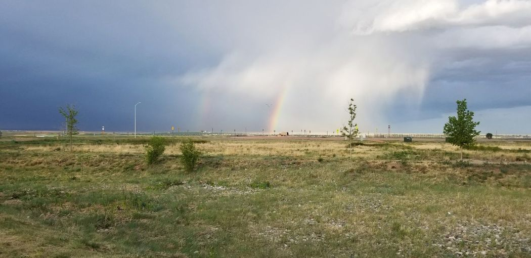 double rainbow Storm Thunderstorm Double Rainbow Rainbow Colorado Tornado Tree Water Storm Cloud Rural Scene Extreme Weather RISK Accidents And Disasters Destruction Spectrum Refraction Natural Phenomenon Overcast