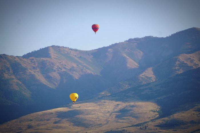 Hot Air Balloon Flying Mid-air Mountain Adventure Fun Ballooning Festival Hotairballoons Huntsville Utah Edenutah Balloon Mountain Range Landscape Air Vehicle Viewfromdeck Viewpoint HotAirBallonFestival Sky Skyline