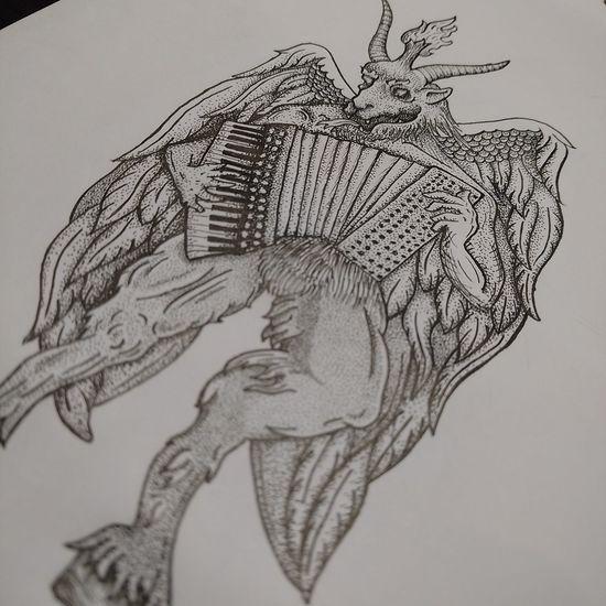 Baphomet Dotwork Pointillism Stippling Accordion бафомет демон дотворк