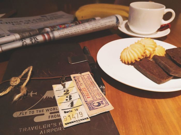 Banana Newspaper Cookie Night Relaxing Travel Photography Huaweimate10pro Huawei Huaweiphotography Plate Close-up Food And Drink Tea Tea Cup