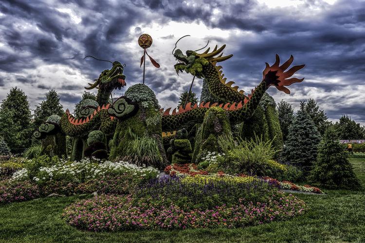 Canada150 Dragons Gatineau Ontario Ottawa Quebec Canada Cloud - Sky Flowers Mosiac Outdoors Plant Sculpture Statue