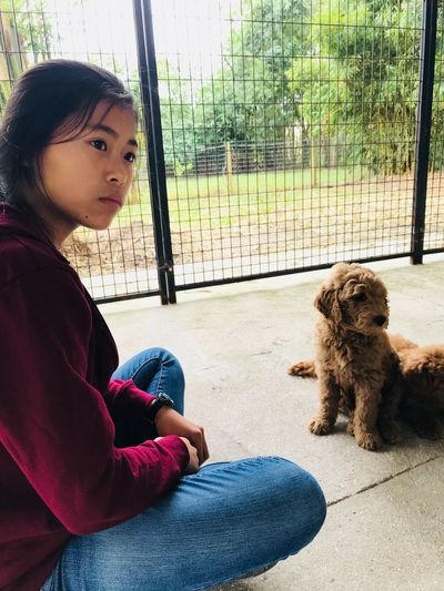 Sitting Dog Pets One Animal One Person Real People Animal Themes Casual Clothing Domestic Animals Lifestyles Day Mammal Side View Full Length Leisure Activity Young Adult Young Women Indoors  Bonding People