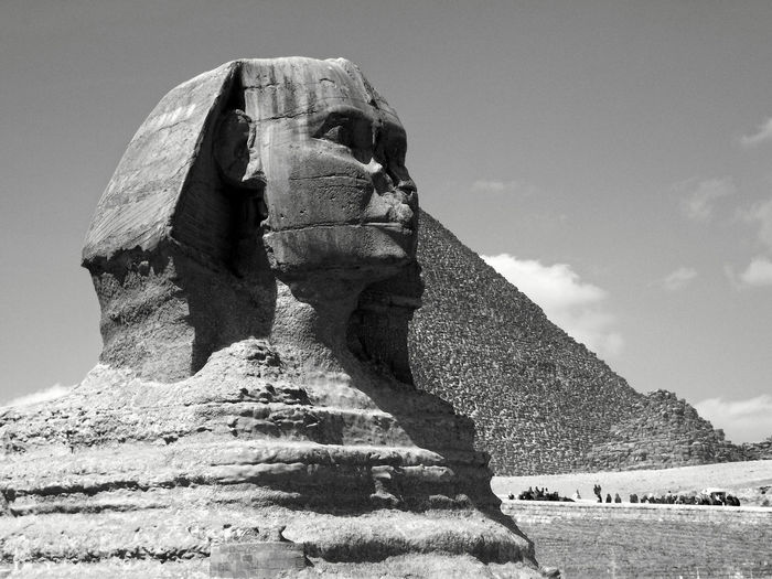 Ancient Ancient Architecture Ancient Civilization Day Egypt EyeEm Best Shots - Black + White Low Angle View Monochrome Photography No People Outdoors Pyramid Sculpture Sky Sphinx Miles Away The Architect - 2017 EyeEm Awards The Great Outdoors - 2017 EyeEm Awards Black And White Friday An Eye For Travel