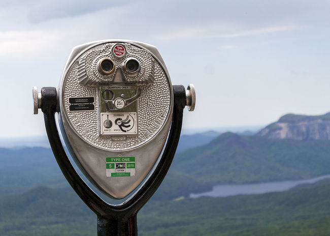 Beauty In Nature Close-up Coin-operated Binoculars Day Focus On Foreground Lake And Mountain Landscape Mountain Mountain Range No People Outlook Scenics Sky South Carolina Surveillance Table Rock Table Rock Lake Tourism Tranquil Scene Tranquility Travel Destinations