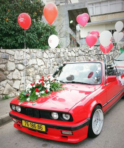 By Me My Photography My Photo Photography Photo Taking Photo Taking By Me Red Car Red Flowers Red Roses Decorated Car Widding Balloons Bmw Car Bmw Red Bmw Nice Car Red Flowers Roses