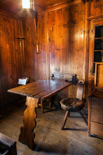 Old wooden chairs and tables in building