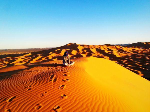 Picturing Individuality That's Me Desert Saharadesert Sahara Dunes Of Merzouga Merzouga Morocco MoroccoTrip Alone Sunset