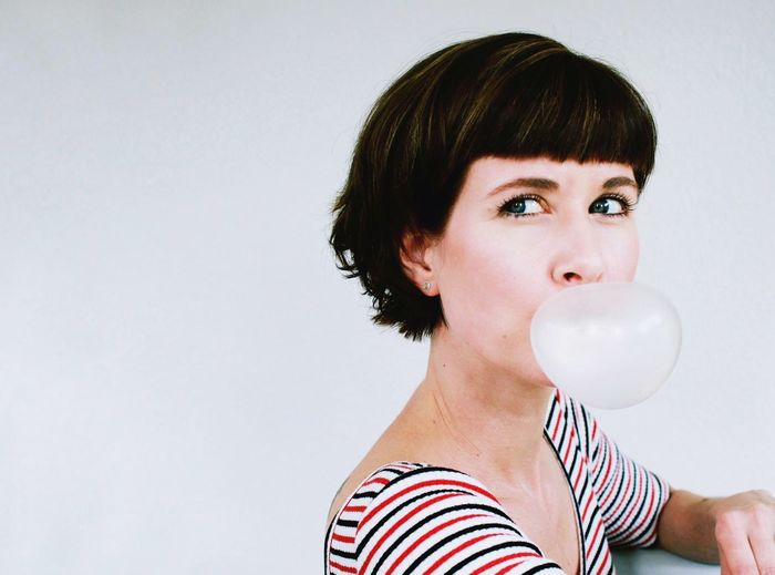 The bubblegum series no. 3 Headshot Portrait People Short Hair Studio Shot EyeEm Best Shots EyeEm Gallery Minimalism Portrait Of A Woman One Woman Only Beauty Women Color Portrait Pastels Colours Looking At Camera
