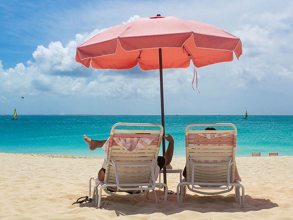 Grace Bay Turks And Caicos Turks And Caicos Islands Beach Beauty In Nature Chair Cloud - Sky Horizon Horizon Over Water Land Lounge Chair Nature No People Outdoors Parasol Sand Scenics - Nature Sea Seat Sky Tranquil Scene Tranquility Turks And Caicos Beach Umbrella Water