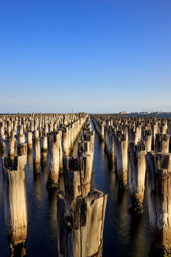 Wooden posts in front of sea