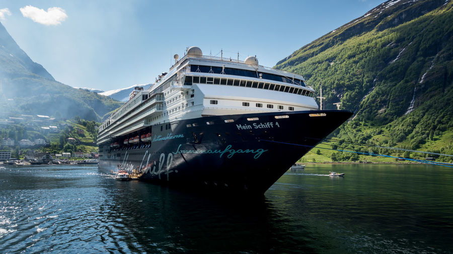"""""""Mein Schiff 1"""", Geringer Fjord, Norway Beauty In Nature Boat Cruise Cruise Ship Geiranger Geiranger Fjord Geirangerfjord Idyllic Meinschiff1 Meinschiff5 Mountain Mountain Range Nature Nautical Vessel No People Norway Outdoors Scenics Ship Tourist Attraction  Travel Destinations Tui Water"""
