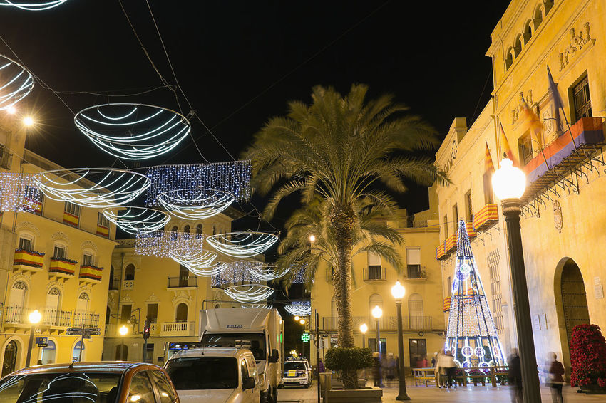Elche, Spain. December 18, 2017: Town Hall Square of the city of Elche, with Christmas decoration. Alacant Alicante Alicante Province Spain Christmas Elche Elx SPAIN Spanish Travel Architecture Building Exterior Built Structure Chrismas Lights Christmas Decoration Christmas Ornament City Illuminated Land Vehicle Low Angle View Night No People Outdoors Sky Travel Destinations