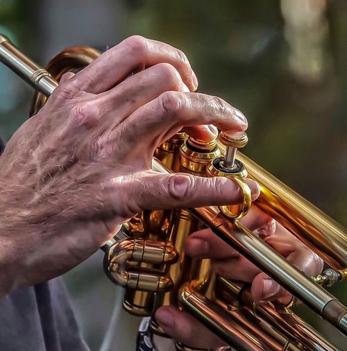 Cropped hand of man playing trumpet