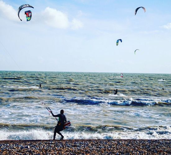 Kitesurfing 10 Sea Horizon Over Water Water Beach Sport Kiteboarding Leisure Activity Adventure Real People Sky One Person Extreme Sports Agility Beauty In Nature Outdoors Scenics Nature Day Wave Parachute Worthing Kitesurfing Fun