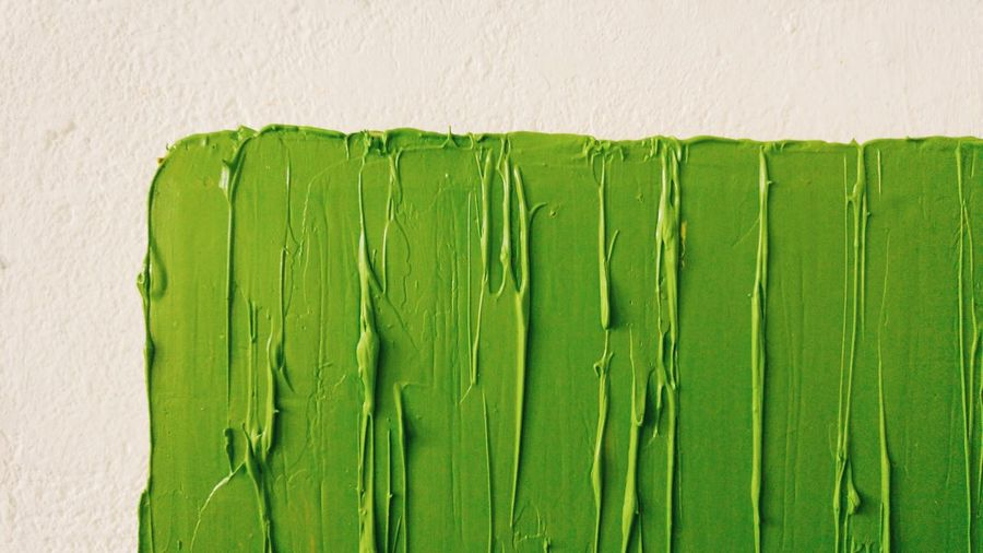 Close-up of green paint on wall