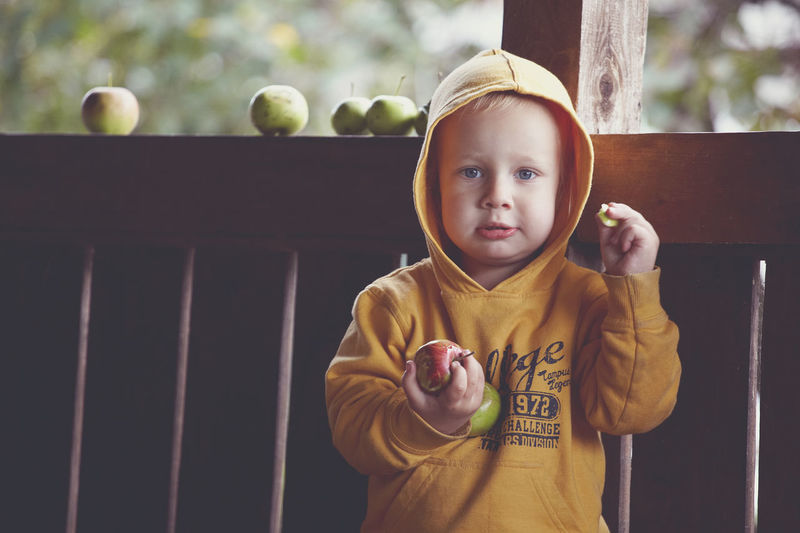 Portrait Of Cute Baby Boy Holding Fruits While Standing By Retaining Wall