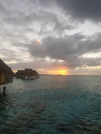 Travel Destinations Sky Vacations Mer Ilsland French Polynesia Sea Blue Tahiti Sunset