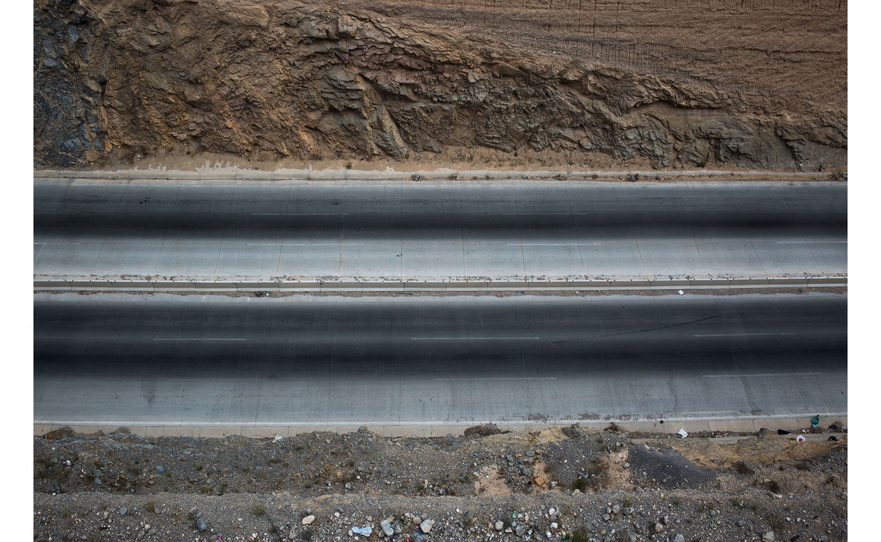 Aerial view of an empty road