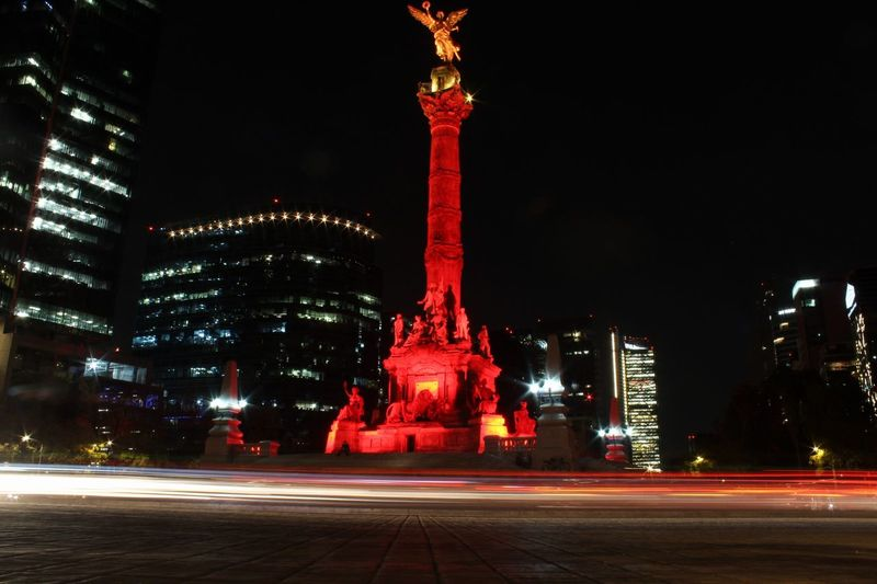 Night Illuminated Travel Destinations Memorial City Outdoors War Architecture No People Stela Lights Sky Cdmx Midnight Low Angle View City Urban Skyline Canonphotography Mexico