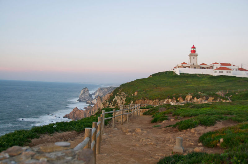 Cabo Da Roca Cliff Coastline Lighthouse Lighthouse Portugal Sea Shore Sunset Travel Destinations The Great Outdoors - 2016 EyeEm Awards