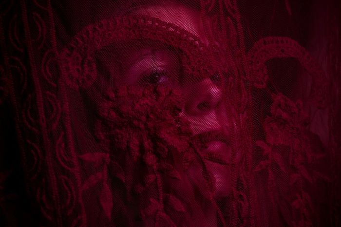 Portrait Of A Woman Pr0ject_uno Utahphotographer Pr0ject_soul Mystery Rsa_ladies Utah Textile Textured  Red Full Frame