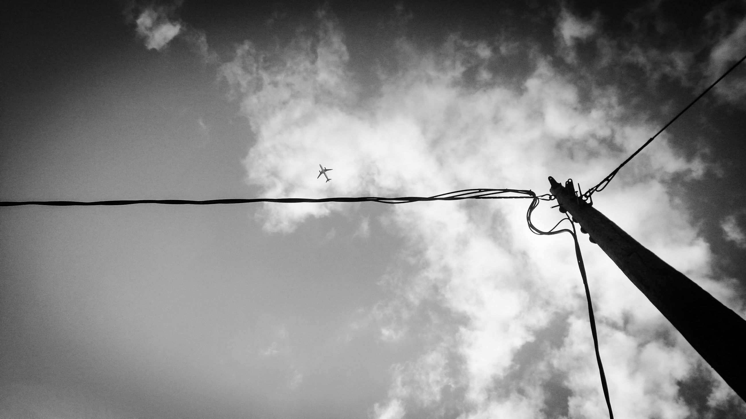 low angle view, sky, power line, electricity, cable, power supply, cloud - sky, electricity pylon, fuel and power generation, connection, cloudy, technology, animal themes, pole, silhouette, cloud, perching, day, outdoors, power cable