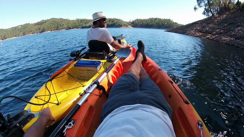 Adventure Blue Clear Sky Happiness Happy People Journey Kayak Kayak Fishing Kayaking Lake Leisure Activity Lifestyles Men Mode Of Transport Nature On The Nature Outdoors Relaxing Sailing Transportation Water