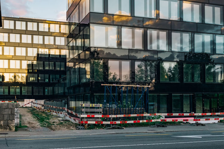 Reflection of trees on glass building in front of road
