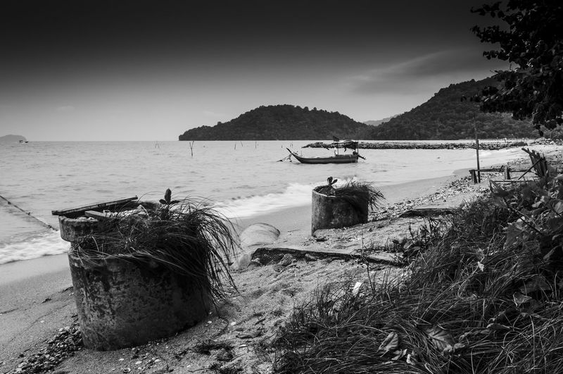 Beach Beauty In Nature Black & White Black And White Bubbles Clouds And Sky Day Fisherman Boat Getty Images Gettyimages Grass Landscapes With WhiteWall Motion Nature Ocean View Outdoors Rippled Sand Scenics Seascape Tranquil Scene Transportation Water Waves Wooden Boats