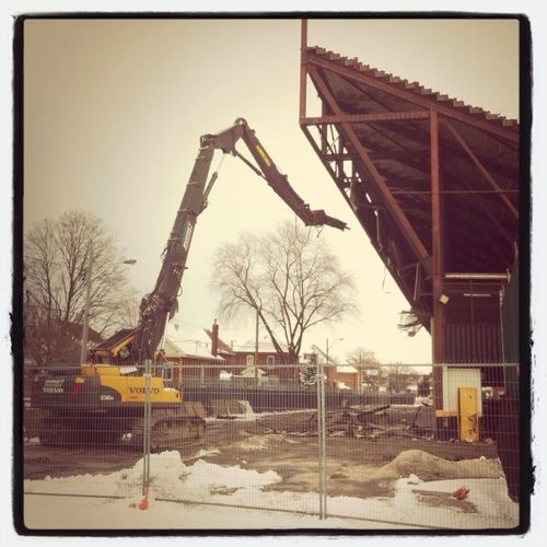 Demolition of north stands at #IvorWynne begins #HamOnt