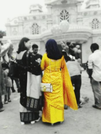 Paint The Town Yellow Rear View Women People City Life Sari Full Length Yellow Built Structure Market Day Architecture City Lifestyles Building Exterior Outdoors