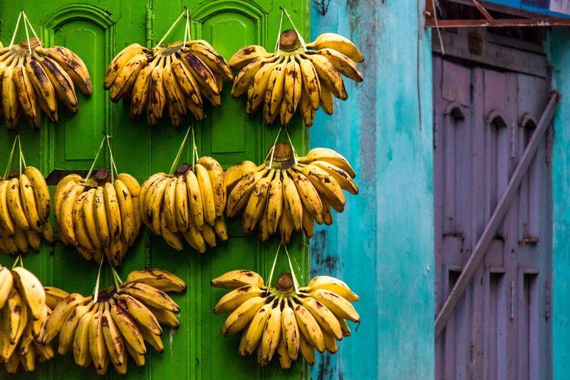 Bananas hanging on door