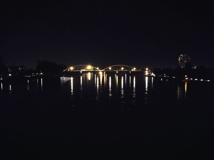Black Water Lights In The Dark Lights In The Water Lights In The Night Brige Brige Over River