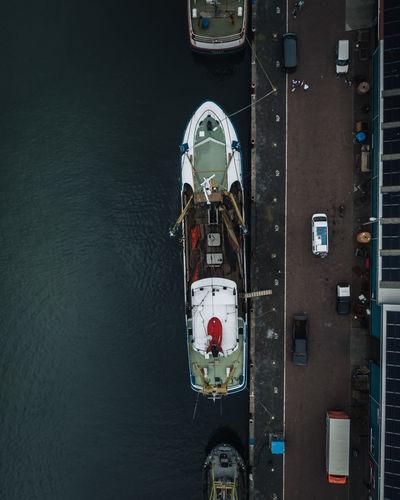 High angle view of ship on river