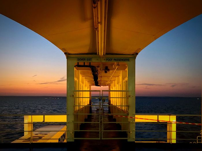 Fähre Dover-Calais Ferry Views Ferryboat Ferry Sea Sky Horizon Over Water Horizon Sunset Nature Railing Transportation No People