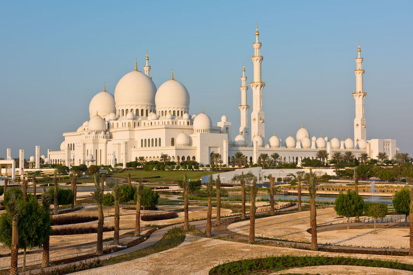 Sheikh Zayed White Mosque in Abu Dhabi, UAE Abu Dhabi Architecture Building Exterior City Clear Sky Emirates Famous Place Mosque No People Outdoors Park Place Of Worship Religious  Sheikh Zayed Grand Mosque Travel Travel Destinations UAE White