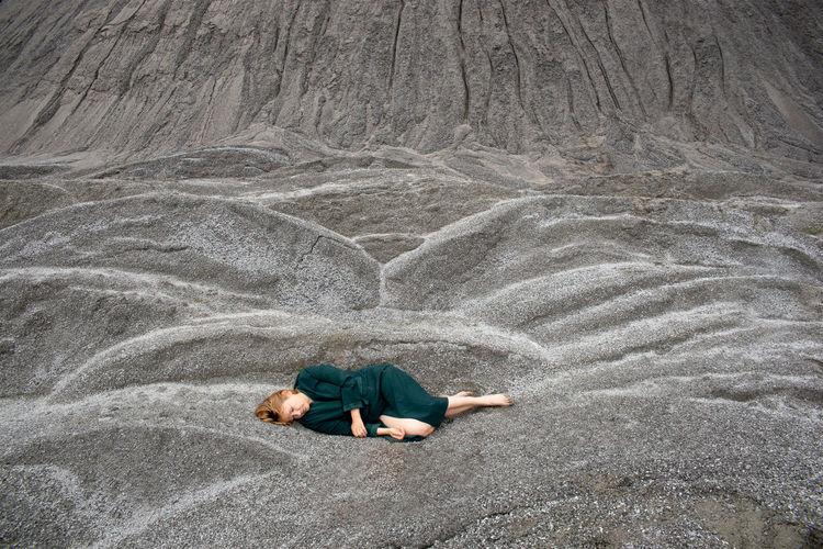 Woman lying outdoor