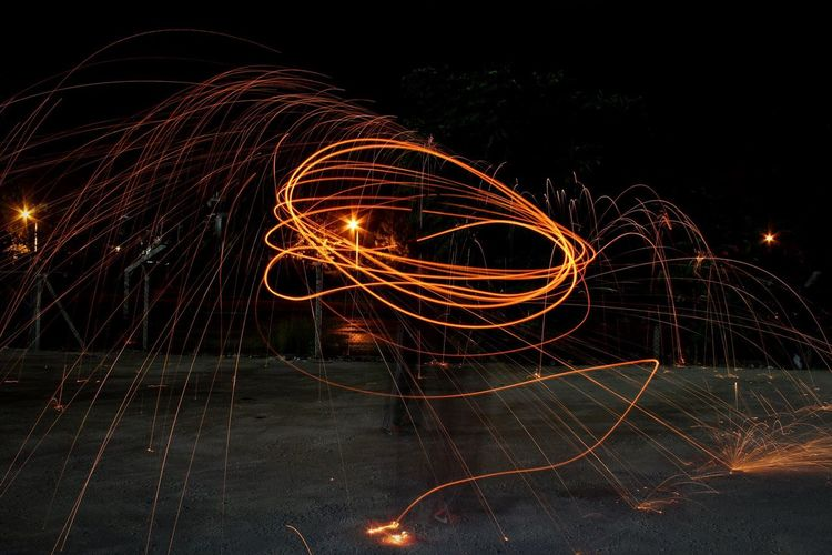 Steel Wool Steel Wool Photography Night Long Exposure Illuminated Motion Wire Wool Light Trail Glowing Light Painting Burning Outdoors Speed No People Firework Sky Nature