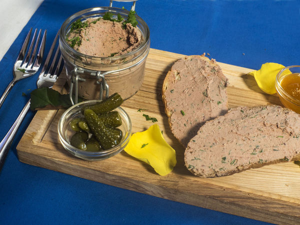 Fresh pate with bread on wooden board Board Bread Brown Bread Close-up Day Food Food And Drink Fresh Freshness Healthy Eating High Angle View Indoors  No People Pate Table Wooden
