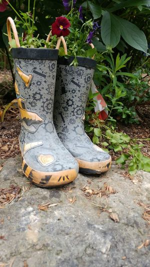 rubber boot planter Gray And Yellow Flowers And Plants Rubber Boot Planter Repurposing Rubber Boots Painted Shoe Pair Plant